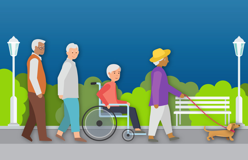 Illustration of a group of older adults walking and rolling in a park