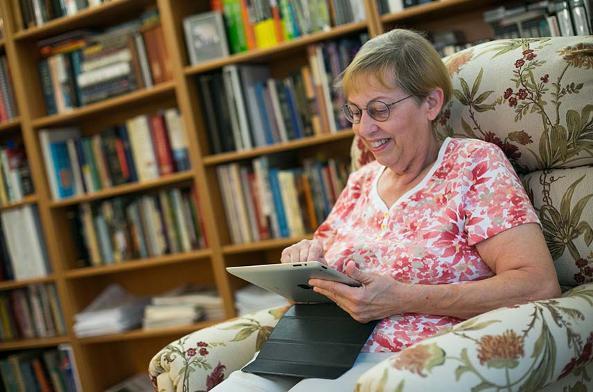 Older woman using a tablet