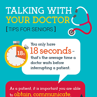 Talking with your doctor: Tips for seniors infographic icon. Click through for full text.
