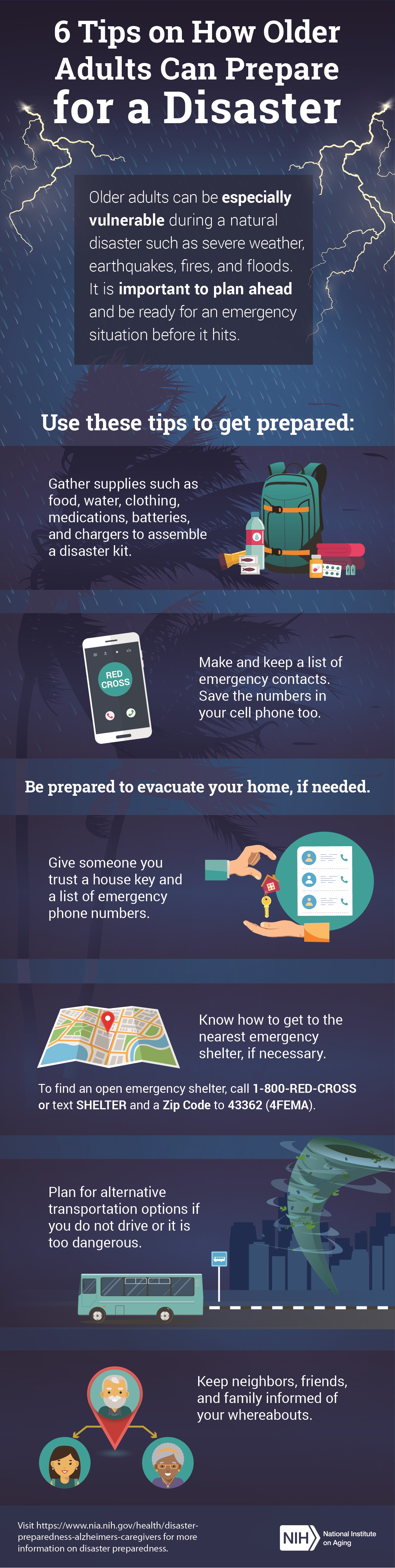 6 tips on how older adults can prepare for a disaster infographic. full transcript below.