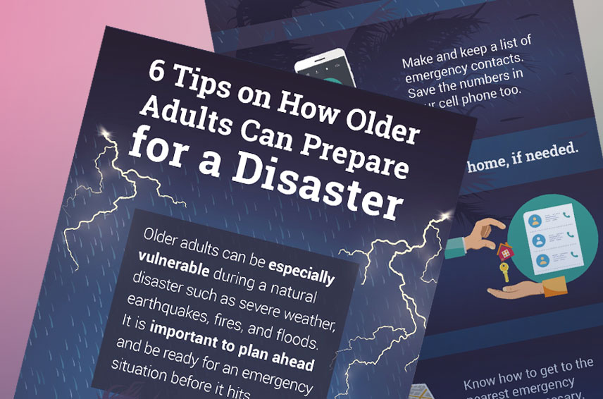 6 tips on how older adults can prepare for a disaster thumbnail. click through for transcript of infographic