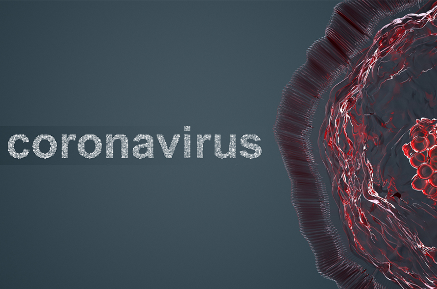 Word Coronavirus with a partial picture of a virus cell