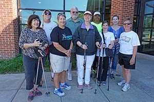 Older adults in a library walking club