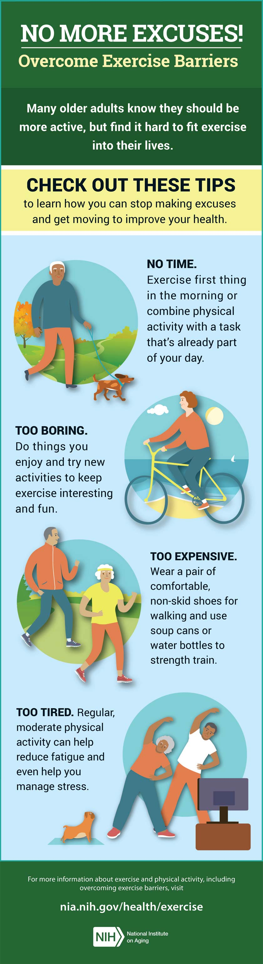 No more excuses! Overcome exercise barriers infographic. Full transcript below.