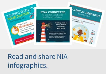 "Three images of NIA infographics, first infographic is titled, ""Talking with Your Doctor"" and the second ""Stay Connected"" and third is Clinical Research. Click to view all infographics."