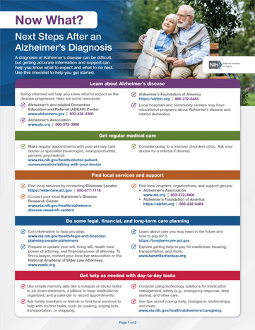 Next Steps after an Alzheimer's Diagnosis checklist, click link below or image to view