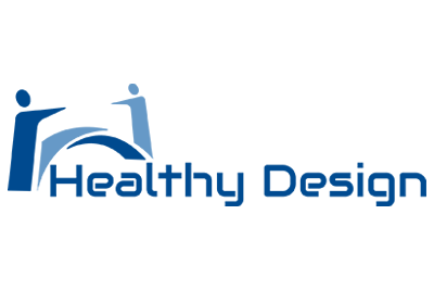 Two animated people arched over the words Healthy Design
