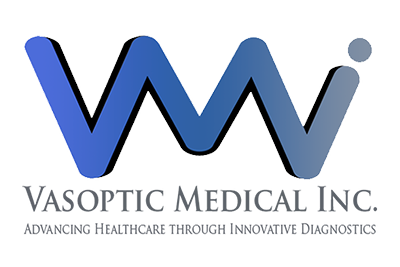 blue lines in a zig-zag shape with the words Vasoptic Medical, Inc.