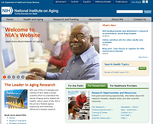 Screenshot of the NIA website homepage as of September 2013, captured at nia.nih.gov