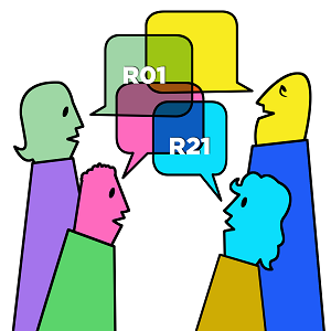 "Cartoon of four people in conversation. Their speech bubbles contain the text ""R01"" and ""R21,"" implying a conversation about those topics."
