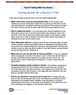 First page of Talking With Your Doctor Presentation Toolkit Handouts