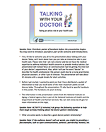 First page of Talking With Your Doctor Presentation Toolkit Speaker Script and Notes