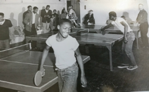 Men playing ping pong in 1951