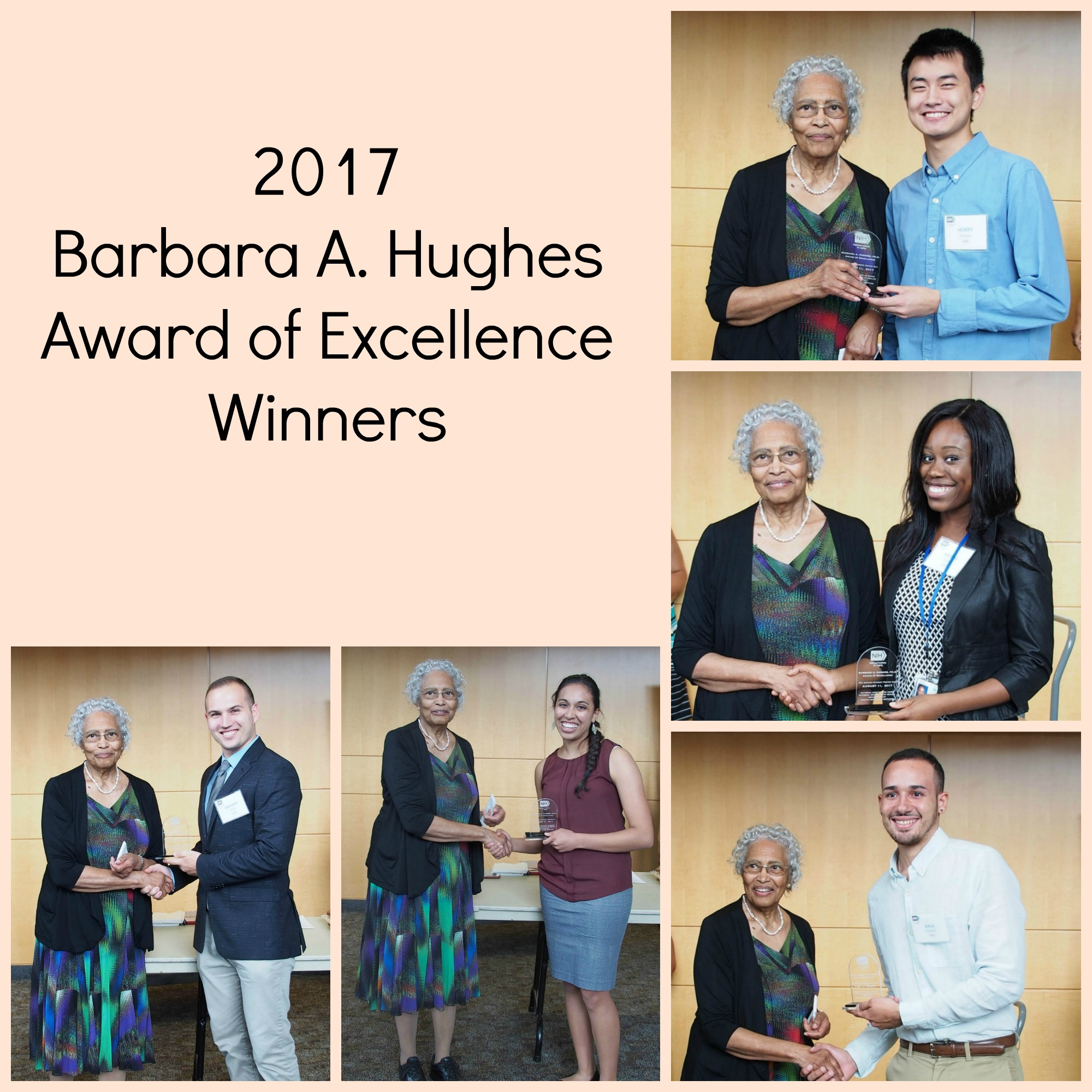 Dr. Hughes poses with this year's Barbara A. Hughes Award of Excellence winners: Ifeoma J. Azinge, Zachary Cook, Raul Y. Ramos Sanchez, Tara N. Srinivas, and Henry Zhang