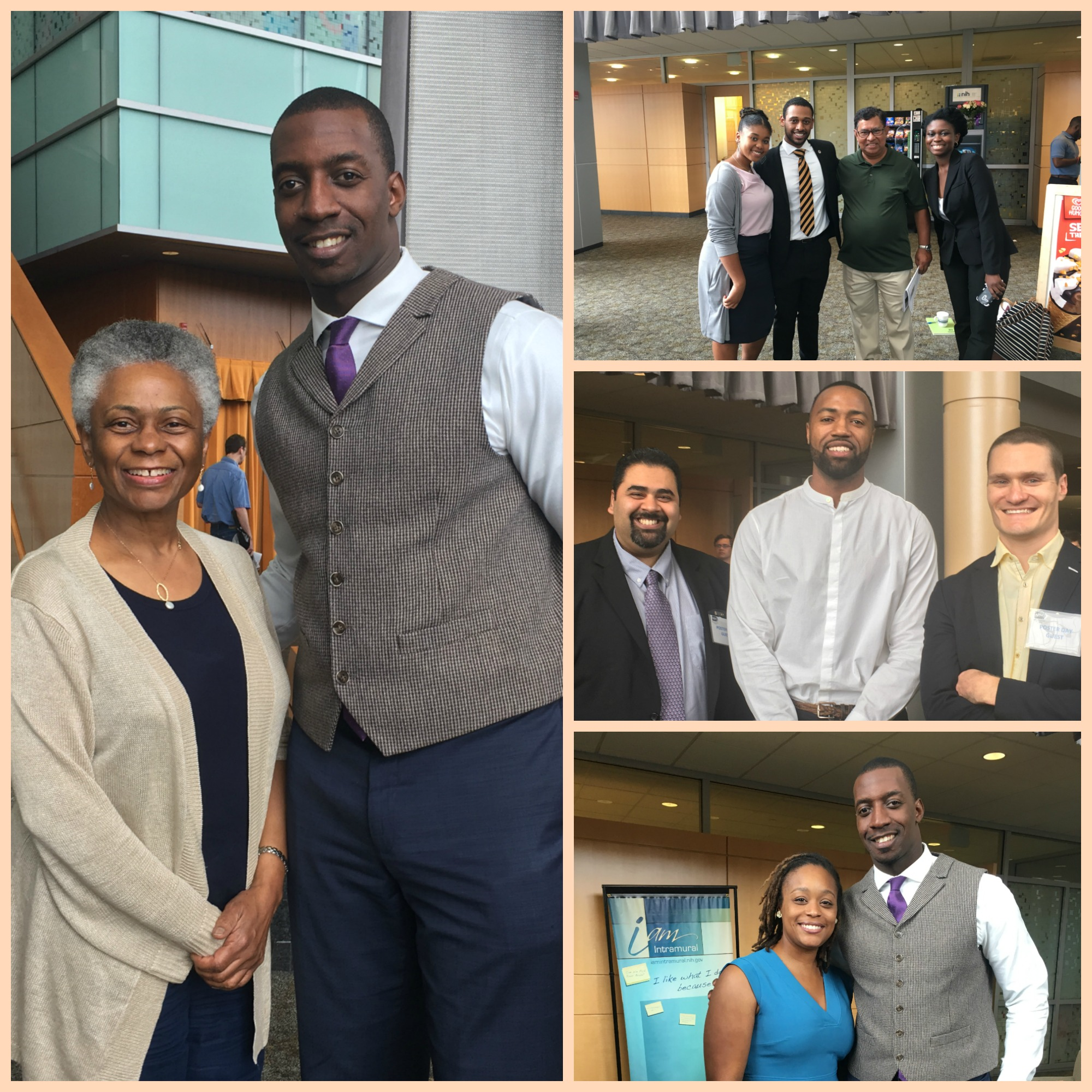Left to right, clockwise, Dr. Torian Easterling and Dr. Marie Bernard, Deputy Director, NIA; 2017 Interns Kaysi Gray, Jonathan Legier, and Joycemary Amponsem with their Howard University mentor,  Dr. Atanu Duttaroy; Zameer Upadhya, MHA, CEO, Platinum Premier Global Equity, Summer Class 1998 & 1999, Royce Hamilton, MPH, Informatics Specialist, Public Health Laboratories, Summer 2013, Shawn Rose, M.D., Ph.D., Medical Director Immunoscience, Exploratory Clinical &  Translational Research, Summer Class 1998 & 1999; Dr. Torian  Easterling and Patrice Moss, Ph.D., Clare Boothe Luce Assistant Professor of Biochemistry, Trinity Washington University, Summer Class, 2002