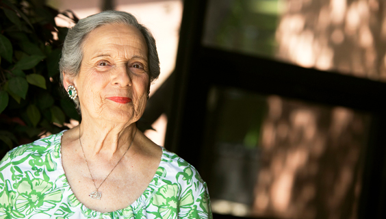 Older woman with healthy aging skin