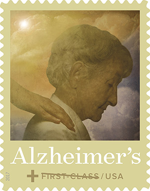 Alzheimer's first class stamp; older woman, with someone's hand on her shoulder.
