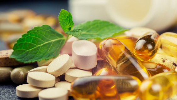 Variety of dietary supplement pills