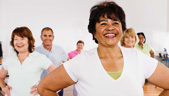 Older adults in a group exercise class