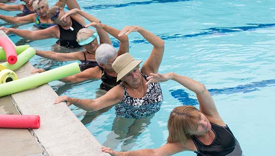 Older women in a swimming pool