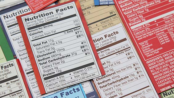 Samples of food labels