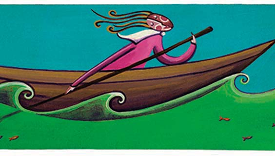 Illustration of a woman in a boat