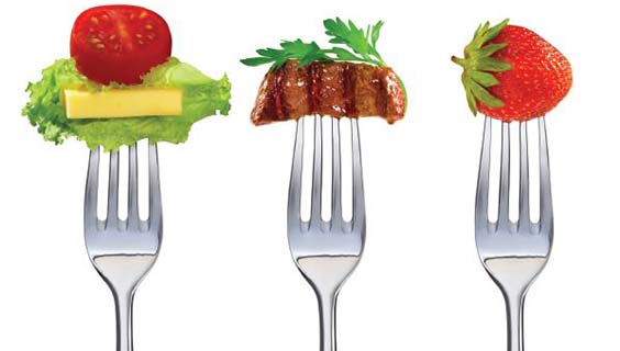 3 forks- one with lettuce, cheese and tomato; one with steak and herbs; one with a strawberry