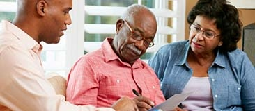 Older couple works on advance care plans with their son