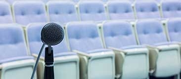 Empty auditorium with microphone