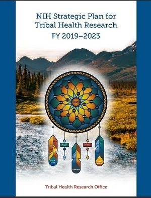 Cover of the strategic plan showing a dreamcatcher in front of a scenic river and mountain view