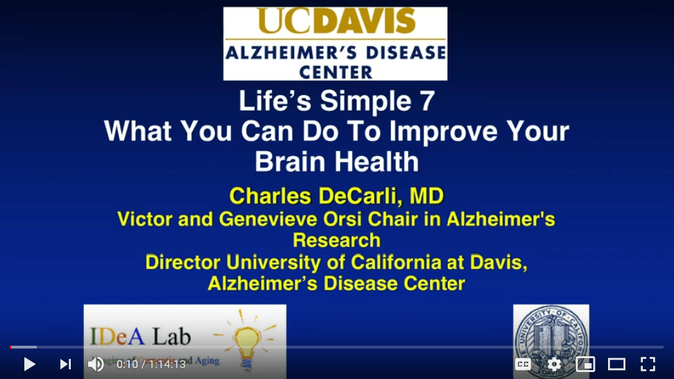 "Title page of video, ""Life's Simple 7: What You Can Do to Improve Your Brain Health"""