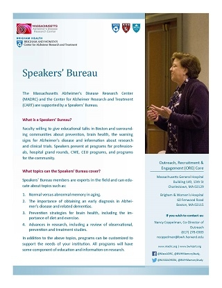 Front page of Speakers' Bureau flyer
