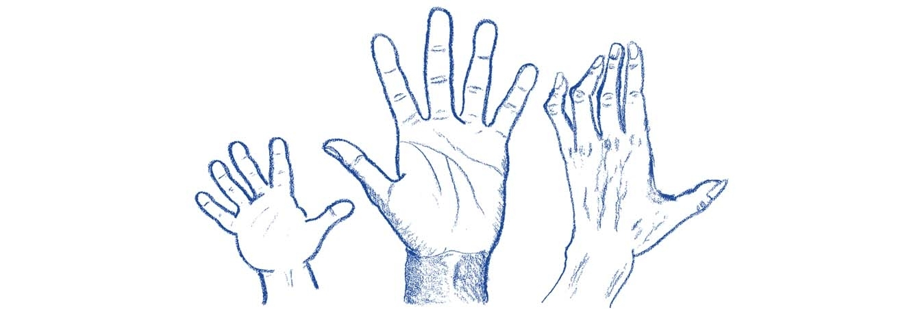 Three blue hands reaching up
