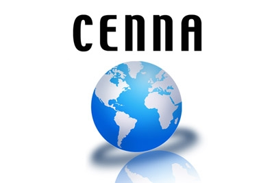 The word Cenna written above an image of the world