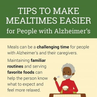 Tips to make mealtimes easier for people with Alzheimer's infographic thumbnail. Click through for full transcript.