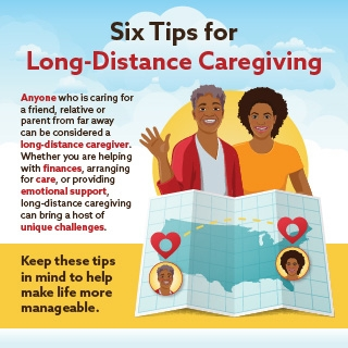 Six tips for long-distance caregiving infographic. Click through for more info.