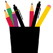 Illustration of a cup with pens and pencils