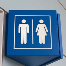 Restroom sign for both men and women