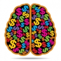 Dollar signs of many colors inside aerial view of brain.