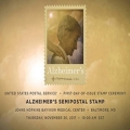 stamp, with 'United States Postal Service; First-Day-Of-Issue stamp ceremony; Alzheimer's Semipostal Stamp; Johns Hopkins Bayview Medical Center; Baltimore, MD; Thursday, November 30, 2017, 10:00 am EST'