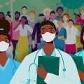 Illustration of health care providers and people wearing masks