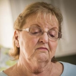 Woman with Alzheimer's experiencing sundowning