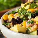 Quinoa salad with black beans and vegetables