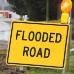 Flooded road sign