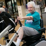 Older woman doing resistance exercises