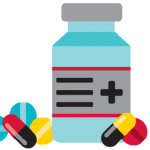 Illustration of medication bottle and pills