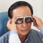 Older man getting an eye exam