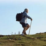 Older woman hiking