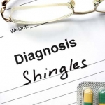 "Chart reading ""Diagnosis: Shingles"""