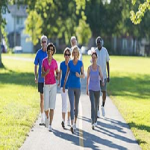 Group of adults walking outside